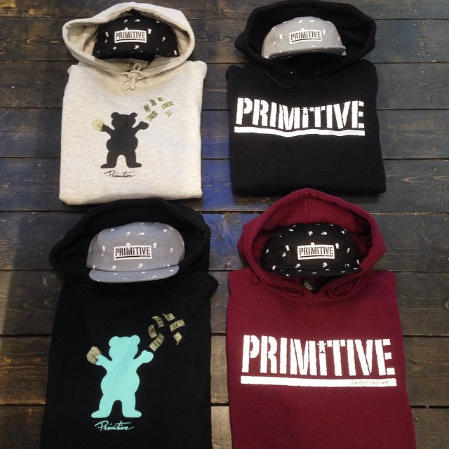 @primitiveapparel X @grizzlygriptape collab hoodies hats and tees available. #grizzlygang #bewareofthebear #primitiveapparel