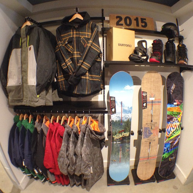2015 snow gear is coming! here's a little sneak peak at some of the goods. @burtonsnowboard #trickpony and #custom boards, #cartel bindings, and #moto boot @libtechnologies #t.rice pro. @dc_snowboarding outerwear and mutiny and kush boots.