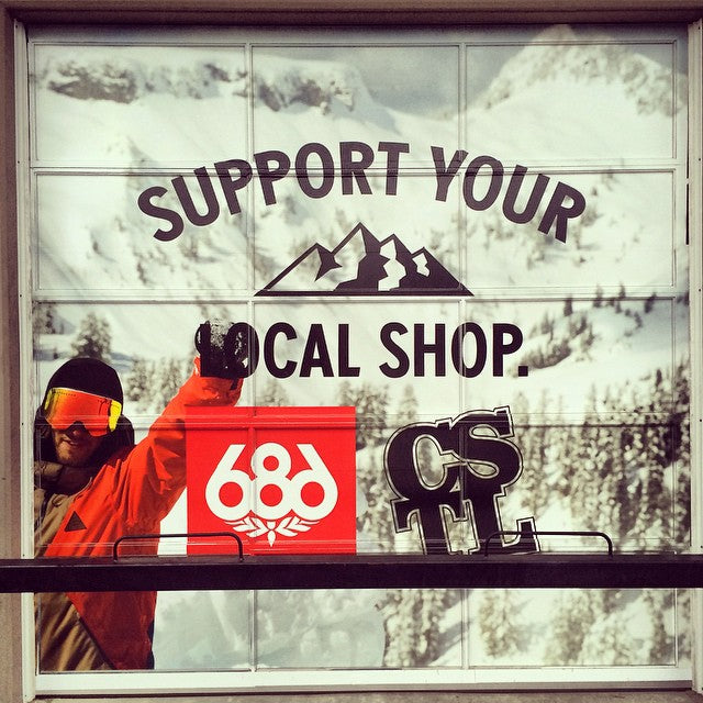 New @686 window up at the store. @forestbailey knows what's up. #supportyourlocalshop