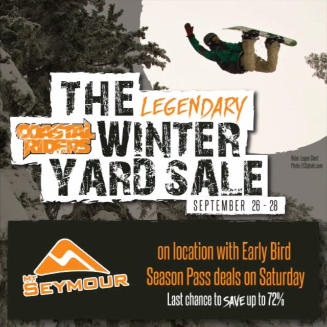 The legendary #CSTLyardsale is almost here! Starting tomorrow come by the shop for 40-70% off snowboards, bindings, boots, outerwear and more! Wow factor package deals, and @mtseymour on location Saturday. Be there.