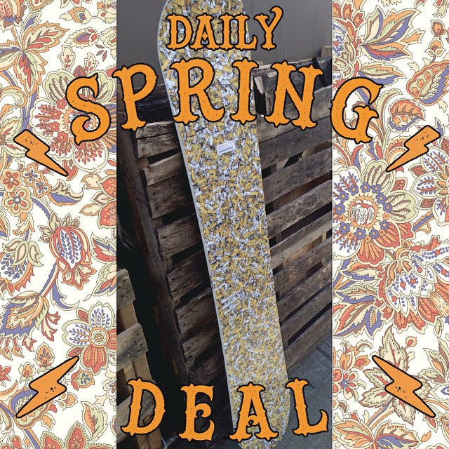Today's #DailySpringDeal ---- Dinosaurs Will Die MAET. Reg: $439.99 sale $219.99. Softer but camber park board. #NoRegrets #DWD #Dope #CSTLspring #CoastalRiders #springbreakout