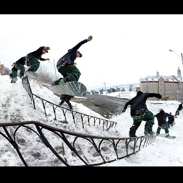 @mattheneghan is a boss. Here we have a tricky rail combo in Montreal filming for #YearOfTheSnake. Shot by @jordanmackiebell. #hene #snowboarding #cstl #coastalriders