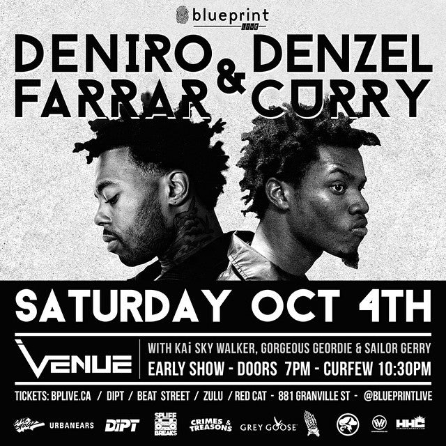 Tomorrow, Saturday October 4th Deniro Farrar and Denlzel Curry at venue night club. #vancityhiphop #blueprintlive @blueprintlive