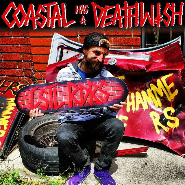 #tbt to the @deathwishskateboards x #coastalriders colab we did. @bigbizliz showing off the goods. There are a very few left of these. #veryrare $49.99. @mehrathon