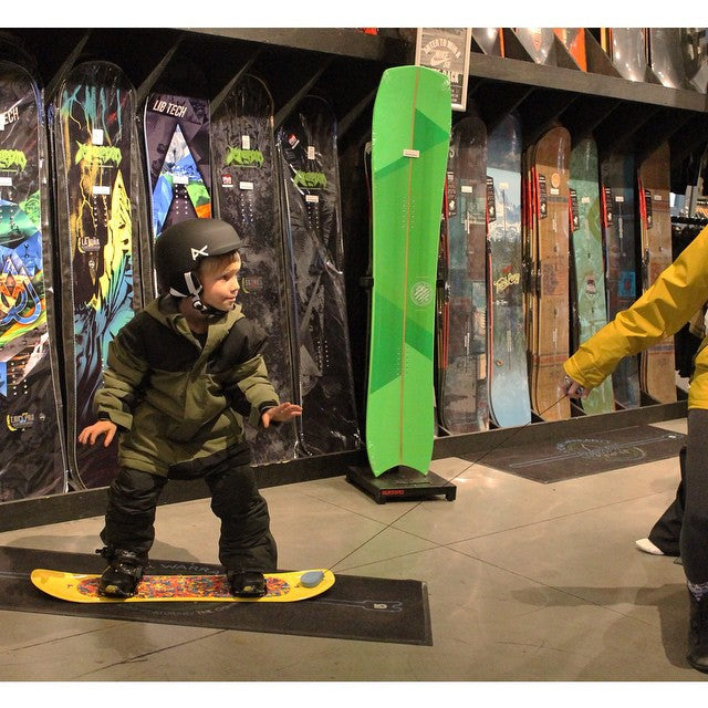 The ultimate kids learning board. Teach them the basics on almost any surface. Pull em or add bindings when its time to take the next step. @burtonsnowboards Riglet Board. #supportlocal #kids #snowboarding