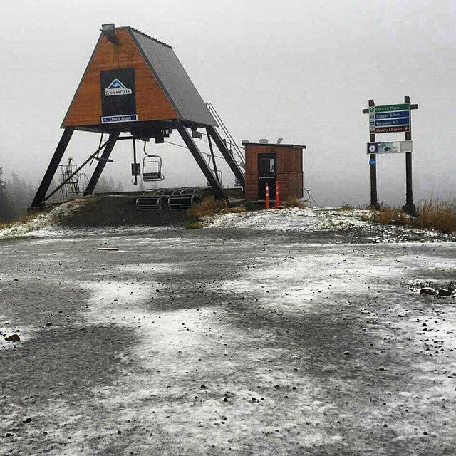 @mtseymour got their first snowfall at the base today. Get ready, #winteriscoming #letitsnow