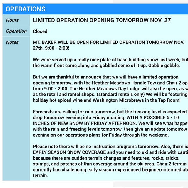 It's official! @mtbakerskiarea is open tomorrow for limited operations! Check their website for more details. #prayforsnow