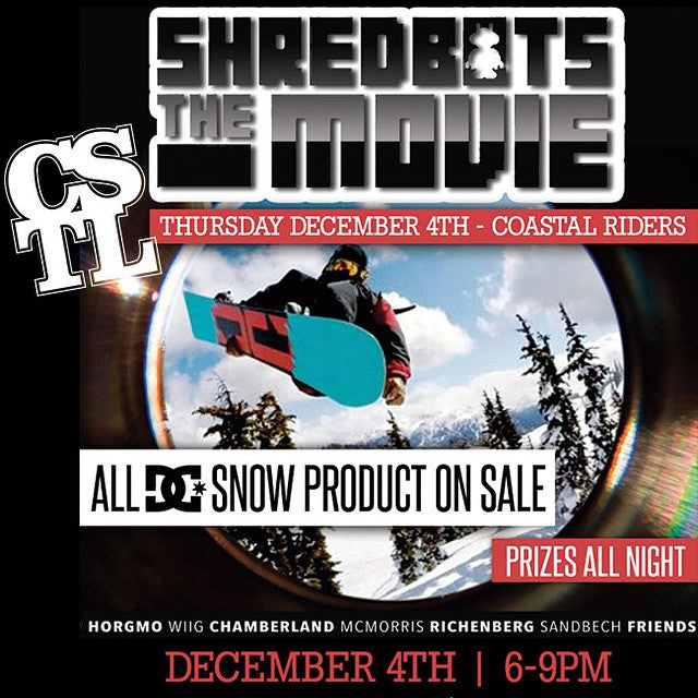 We are showing @shred_bots the movie on the big screen in the shop this Thursday dec 4. Prizes and discounts on/ from @dc_snowboarding all night. Come get buck. #snowboarding #shredbots #dcsnow