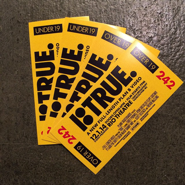 @planbofficial #true #vancouver premiere 12 | 01 | 14. Tickets are now available. Come get them. Supplies are limited. @centredist #planbtrue
