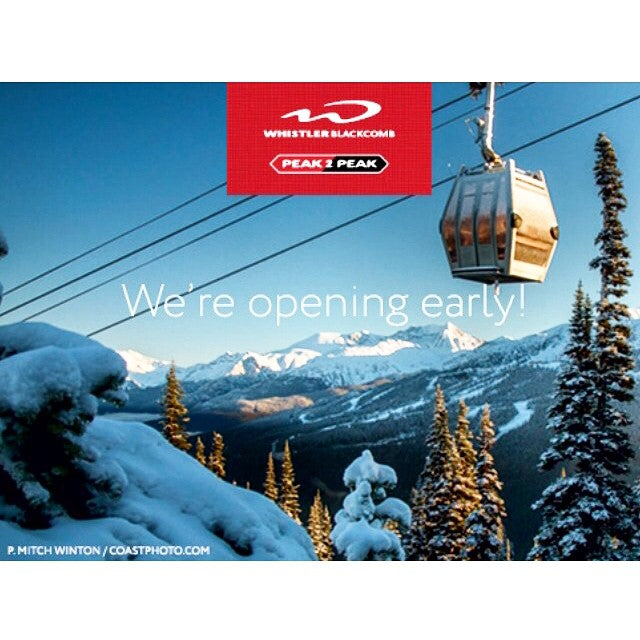 This just in... @whistlerblackcomb is opening early! Head up on Saturday November 22nd to get fresh tracks up #Whistler #snowboarding