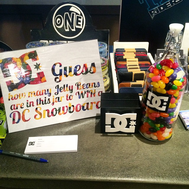 Want to win a new @dc_snowboarding #snowboard? Get here this weekend and guess how many jelly beans are in the jar. It's just that easy. #oldschoolfun #winasnowboard #dcsnow #CSTLwinter