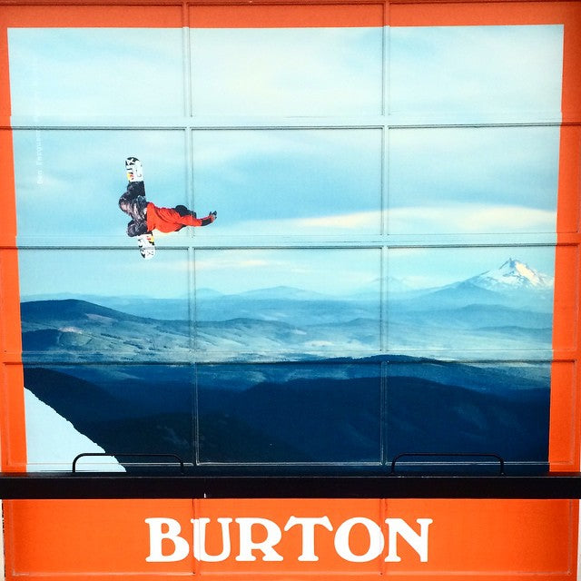 Our new @burtonsnowboards window is up at the shop. Just in time for #MethodMonday. #BenFerguson crankin one. Shot by #Blotto. @burtonwesterncanada