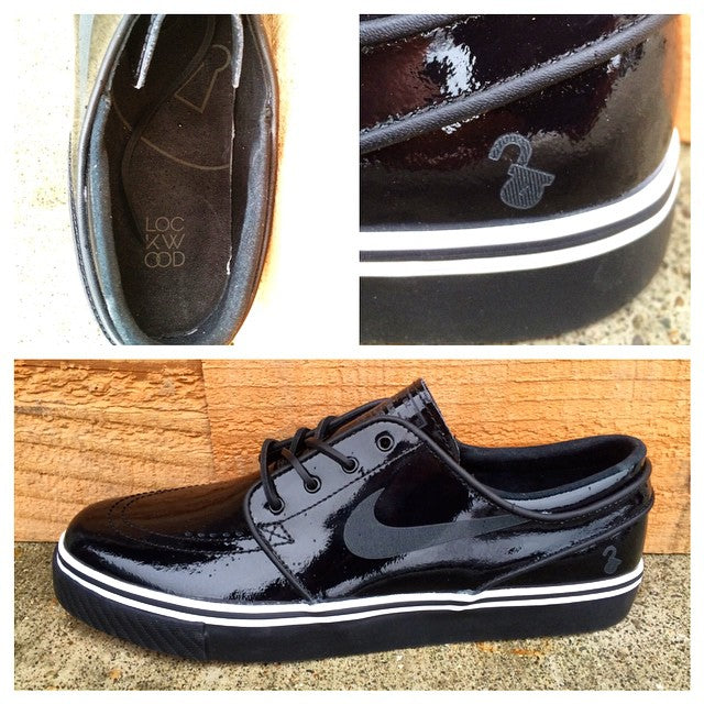In the quickest strike to date the @nikesb #LockWood #janoski drops today. No warning, just bam, Black Patent in yo face, or on yo feet. Perfect for any high class holiday functions you may have. #tuxedo #nikesb #quickstrike #qs #sneakers #sneakerfreaker