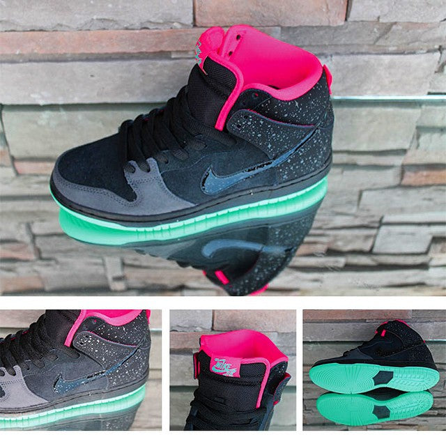 More new @nikesb #DunkHigh. The #yeezy inspired #sneaker features a glow in the dark sole. #laterelease #sb #nikesb #sneakerfreaker