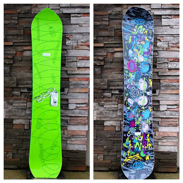 Weird shapes are in. Check out the @dinosaurs_will_die #WizzardStick and the @gnusnowboards @forestbailey #SpaceCase. #getwierd #mtweird #dwd #gnu #snowboards