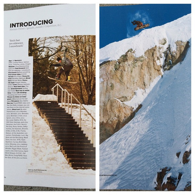 The new @snowboardcanada has hit shelves and its full of #CoastalRiders and @dinosaurs_will_die fam. @sushi_suzuki got a big ol introduction and @keenanjeff with a proper #method. Come grab your copy!