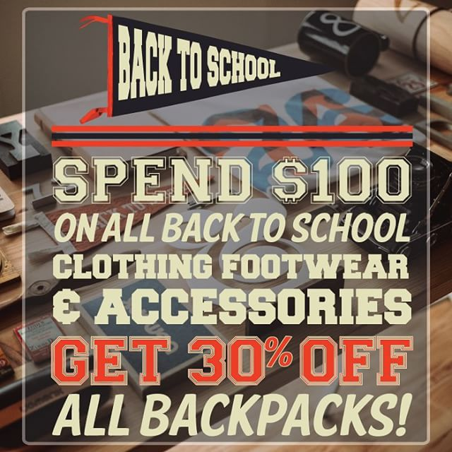 Need new stuff for school? We are starting our back to school sale already, spend $100 on any clothing, footwear or accessories and get 30% off any backpack. #CoastalRiders #CSTL