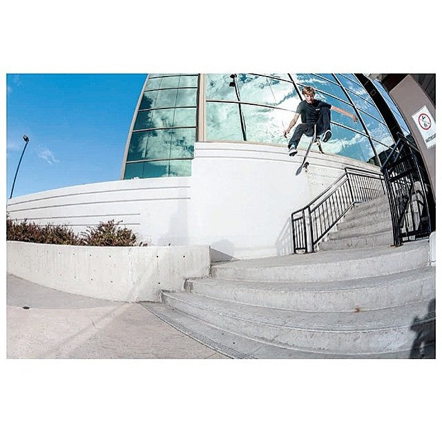 #regram from @fuckimsorry. Michael Ray with a three flip in Kelowna as seen in the new @sbcskateboard_mag, shot by @richodam!