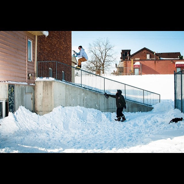#regram from @kingsnowmag. @derek_mo with a boardslide to wall ride from his #ambush. @salmonarms @dc_snowboarding @iseyewear #dmo #kingsnowmag #cstl #CoastalRiders #CSTLwinter shot by @therealralphdamman