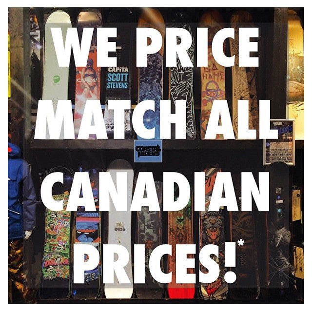 Just in case you forgot. WE MATCH ALL CANADIAN PRICES!* out Mid Winter Sale is on now. All 2015 snowboard gear is up to 20% OFF! All 2014 Snowboards are 50% OFF! Get a great deal while they last. #midwintersale #CoastalRiders #CSTL #Sale #Snowboard