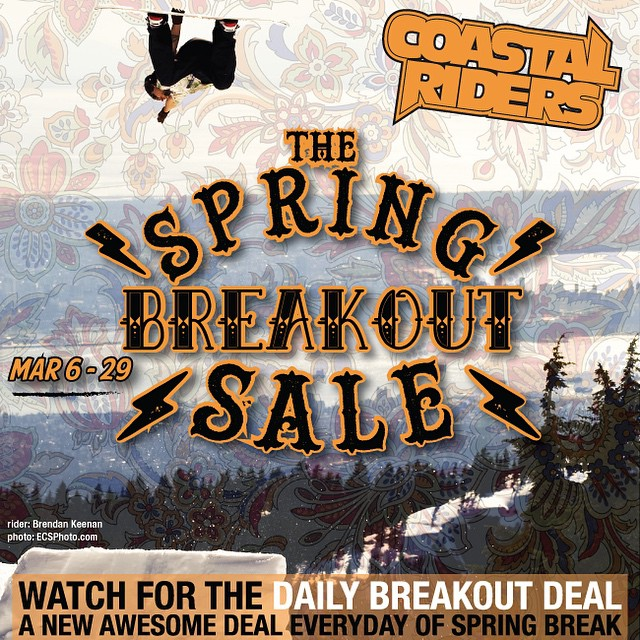The #SpringBreakOut Sale is on now. Check back soon for the first #Breakout Deal of the Day! We will announce it every morning at 10am! #snowboarding #snow #CoastalRiders #CSTL