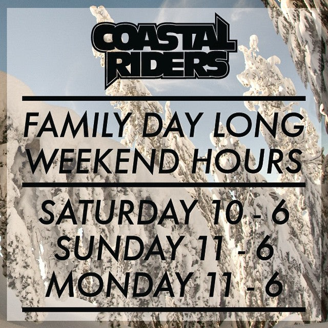 We are open on #FamilyDay. Check out our long weekend hours and then come shopping with your fan, because the Family who shops together, stays together. #FamJam #CoastalRiders
