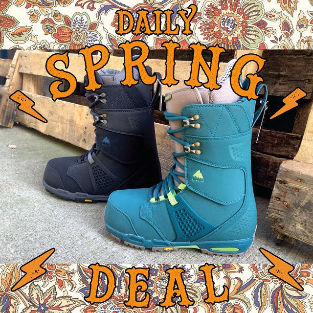 Today's #DailySpringDeal. The @burtoncanada #Fiend Boots. Reg $330 on sale for $164.99. One day only! This #breakout deal won't last long. #snowboardboots #burton #CoastalRiders #CSTL #CSTLspring
