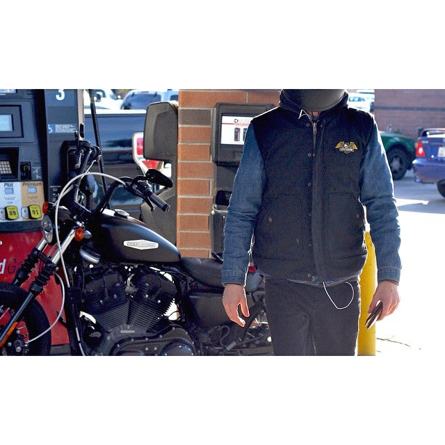 Re stock of the @losermachine CONDOR II vest. Pairs great with a flannel, denim, leather, or even a Harley. #CSTLspring #HarleyDavidson  @zach_janz #CSTL #CoastalRiders