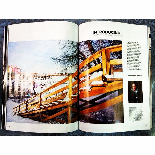 @derek_mo with a two pGe spread in the new @snowboardcanada. Write up by @nickatmoore. Yeeee DMO @dope_industries