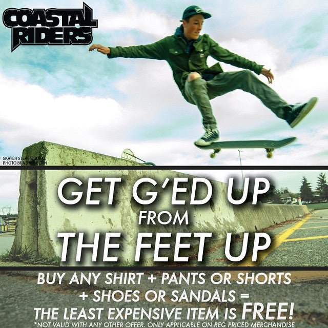 G'ed Up From The Feet Up is back! Buy any Shirt + Shorts or Pants + Shoes or Sandals and get your least expensive FREE! @yzeebs with a one foot shot by @bradmilburn! #spring #sale #skateboarding #shoes #CoastalRiders #CSTL