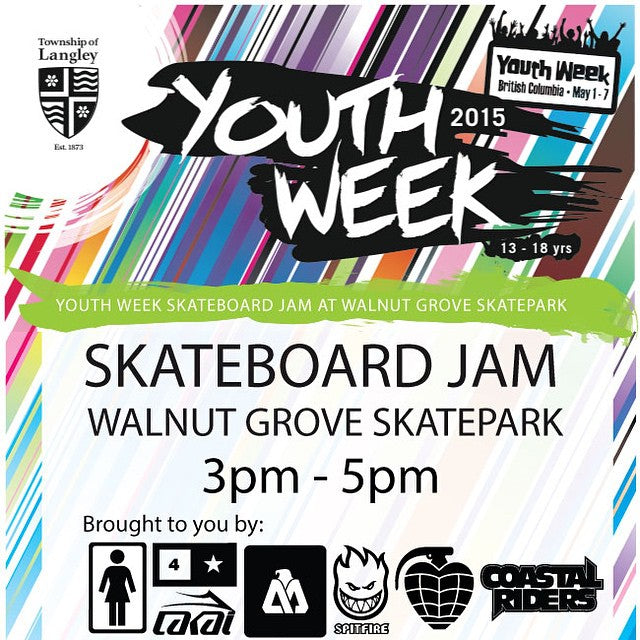 Today from 3-5. #WalnutGrove #YouthWeek Skate Jam. Brought to you by @girlskateboards @fourstarclothing @matixclothing @lakailtd @spitfirewheels @thundertrucks #CoastalRiders #CSTL #Matix #spitfire #fourstar #GirlSkateboards #thunder #Lakai @supradist