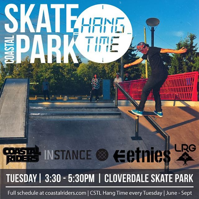 The next #CSTLHangTime is tomorrow at #Cloverdale Skatepark. Prizes from @stancesocks @etniesskateboarding @lrgskate @lrgcanada. Thanks @timebombtrading @tyler_the_destroyer. #CoastalRiders #CSTL #clvdreport TAG YOUR FRIENDS.