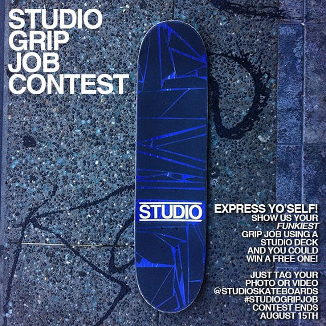 Our friends at @studioskateboards are having a Instagram contest right now. All you have to do is post a photo of a crazy grip job on a studio deck and hashtag #studioGripJob and you could win a free board. Contest ends August 15th