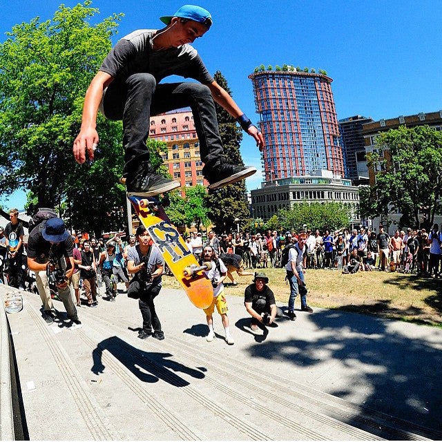 Yung @jristich100 with a varial heel from yesterday's #GoSkateDay15 at the victory 8. #gsd #cstl #coastalriders shot by @brayder