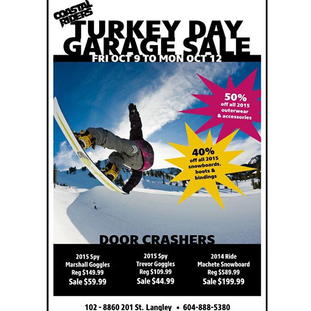 Our Turkey Day Garage Sale starts this friday!! Tonnes of 2015 snowboard goods on sale for cheap! #CSTL #GarageSale