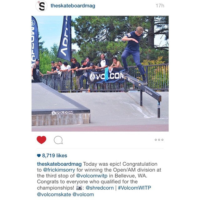 Regram from @theskateboardmag of team rider @frickimsorry who took 1st place yesterday at the @volcom wild in the parks contest in Seattle. #CoastalRiders #WildInTheParks #Volcom