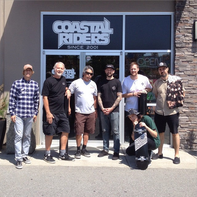 It was a honour to have George Powell of @powellperalta come check out the shop today. Thanks to @ultimatedist for making this happen. #CSTL #CoastalRiders #Powell #BonesBrigade #ultimatedist