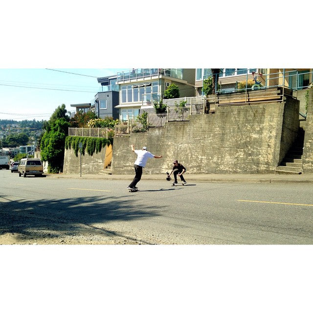 @yzeebs and @dirtmedia filming some hill bomb lines on this beautiful day. #Skateboarding #CoastalRiders #CSTL