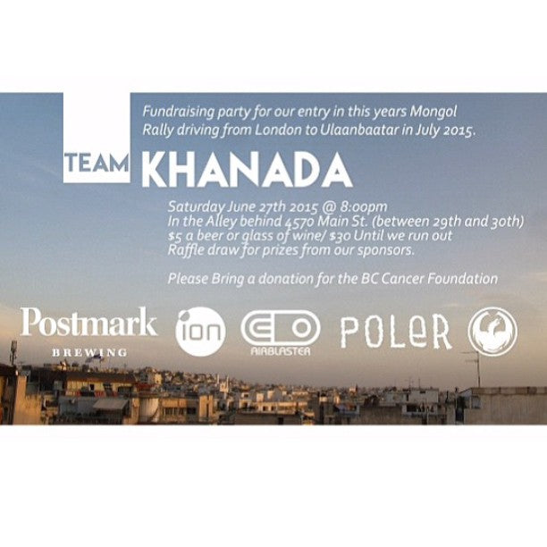 If your in the city tomorrow come out to the @teamkhanada fundraiser to support the #BCcancerFoundation. To donate or to learn more visit mongolrally.ca. #mongalrally