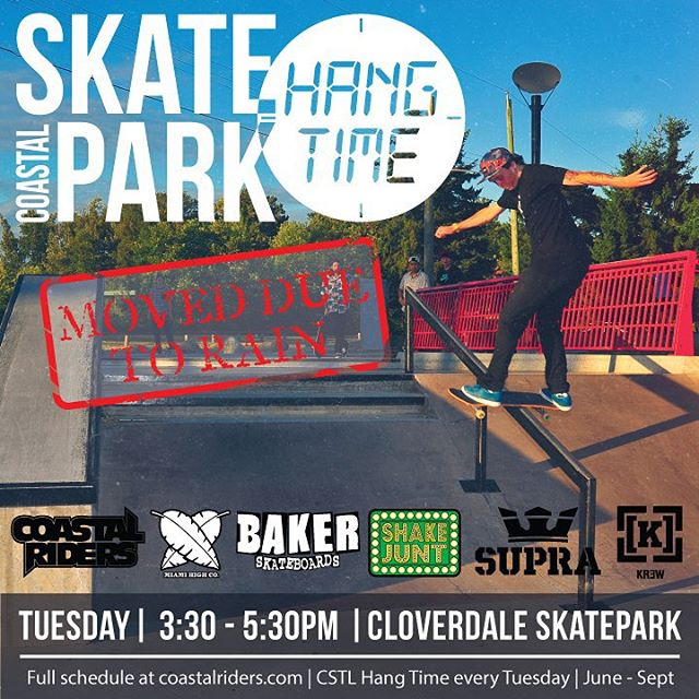 The HangTime has been relocated to CLOVERDALE SKATEPARK because of the rain. Starts at 3:30 see ya there! @miamihighco @bakerskateboards @shakejunt @suprafootwear @kr3wdenim #CSTL #HangTime #Skateboarding