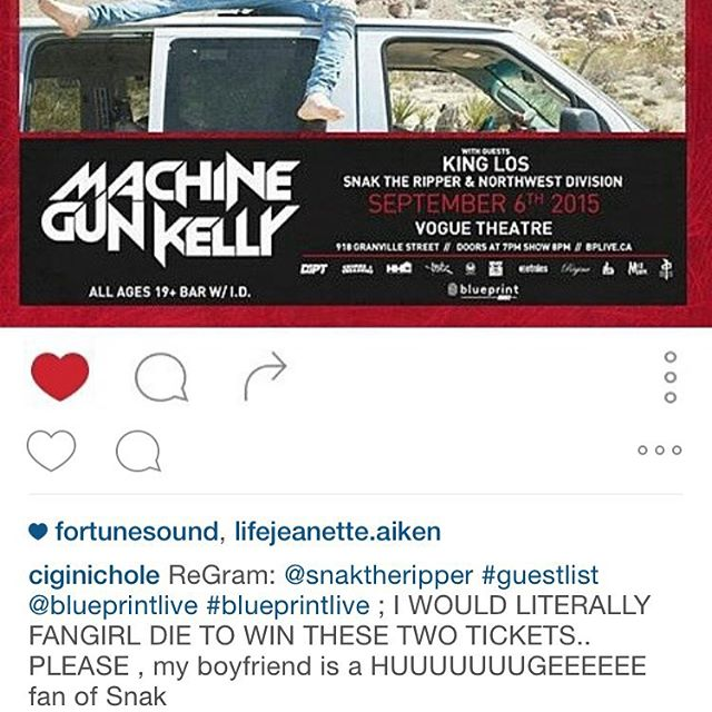 Congrats to @ciginichole who wins two tickets to #machinegunkelly and #snaktheripper tonight at the vogue theatre. DM @the_reper to get them #blueprintlive