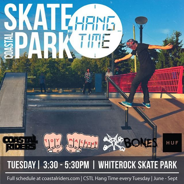 Coastal Skatepark Hang Time number 2 is tomorrow at the #Whiterock #Skatepark. 3:30 - 5:30. Prizes from @toymachine @boneswheels @hufworldwide. #CSTLHangTime #CSTL #CoastalRiders @ultimatedist @takefivetrading . Tag a friend who should come tomorrow!