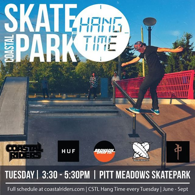 Today at Pitt meadows park! Starts around 3:30 come skate with @doogielester and some of the other team riders. Lots of product from @hufworldwide @thereddragons @bronsonspeedco @miamihighco. @takefivetrading @centredist