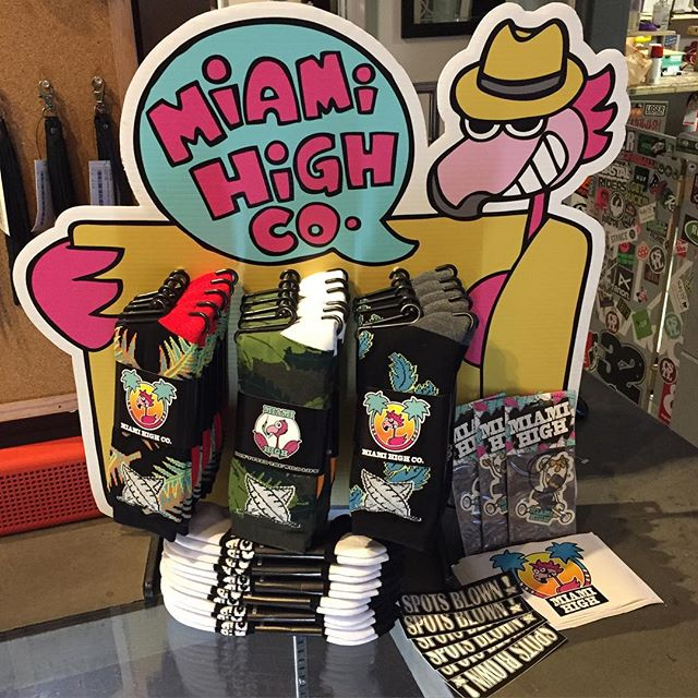 The @miamihighco stand is fully restocked so throw away those old dirty socks and come get some freshies... You owe it to your feet anyways and don't forget about our buy one get one 50% off deal! #SpotsBlown #CoastalRiders #CSTL