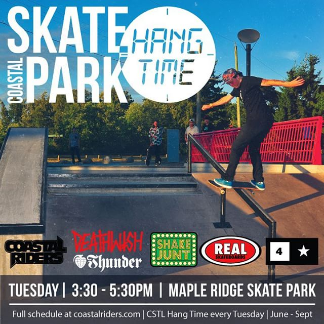 Tomorrow's #SkateParkHangTime is gonna be good. #MapleRidge. 3:30 - 5:30. Tag your friends and repost! @deathwishskateboards @shakejunt @realskateboards @fourstarclothing @thundertrucks #CoastalRiders #CSTL #skateboarding @mehrathon @supradist