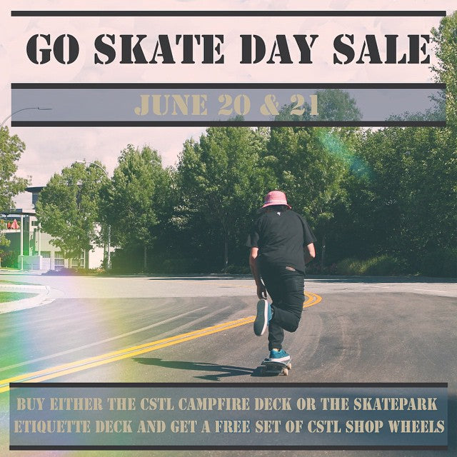 #GoSkateDay is coming up and in order to help you celebrate properly we have a rad little sale going. Tomorrow and Sunday only, buy any #CoastalRiders #Campfire or #Etiquette shop deck and get a free set of 53mm #CSTL Shop Wheels worth $20 bucks! Plus lots of pro decks on sale for $59. #skateboarding #gsd