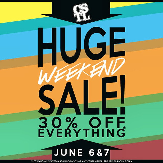 We are having a #HugeWeekendSale this weekend! Everything in the shop is 30% OFF this weekend only! Come and get fully kitted for #summer. #CoastalRiders #cstl #sale *skateboard Hardgoods excluded | not valid with any other offer.