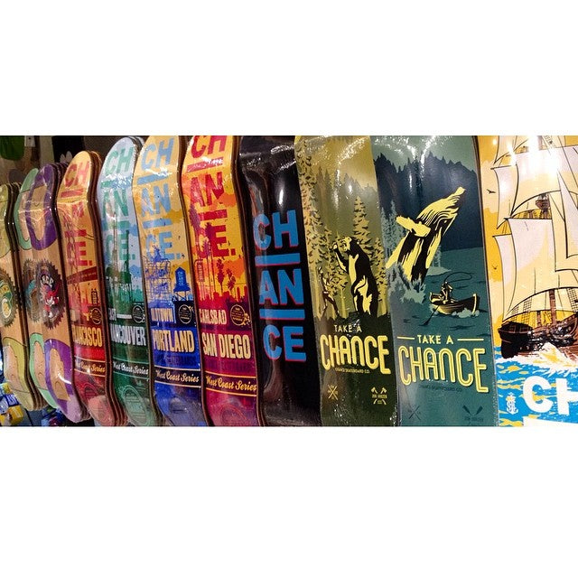 Stacks of new @chanceskateboards product! Check out new spring decks / wheels - and select boards for 49$. Bring in a skateable deck for 10$ off trade in. #CSTLspring #Goskate