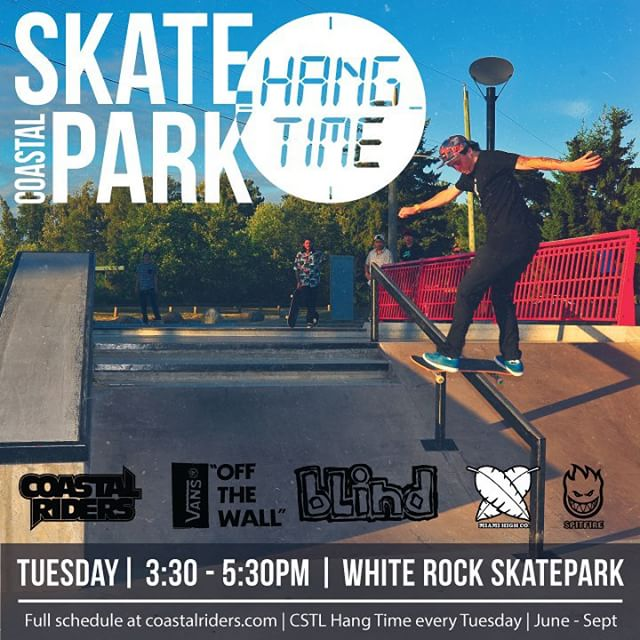 Tomorrow we will be at white rock skatepark for the #CSTLHangTime hope to see a bunch of people come and get some free stuff from all of our sponsors, @miamihighco @vanscanada @blindskateboards @spitfirewheels @supradist @dwindlecanada