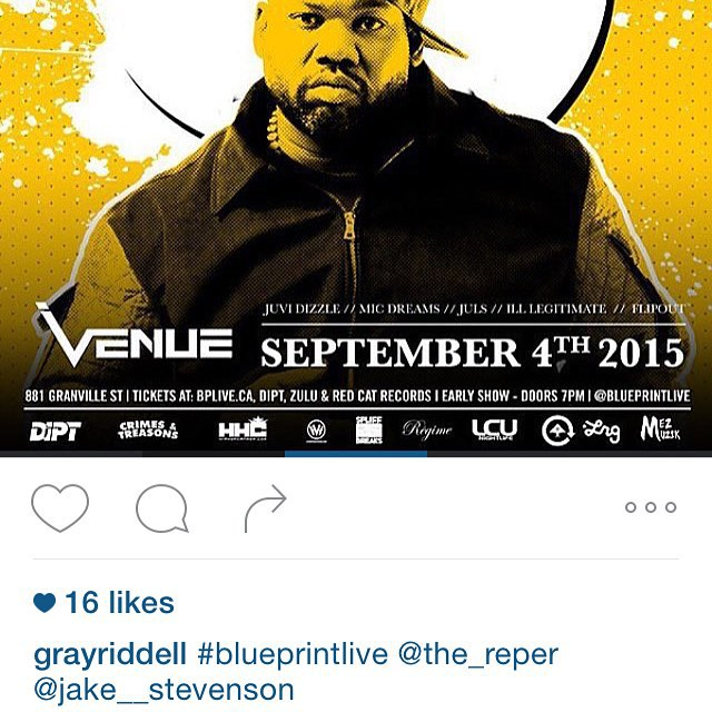 Congrats to @grayriddell. You won two passes to @raekwon tonight at #Venue. Please direct message @the_reper to get your tickets. #blueprintlive #raekwon. Tonight. Tickets still available.